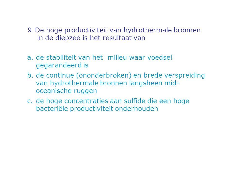 9. De hoge productiviteit van hydrothermale bronnen in de diepzee is het resultaat van