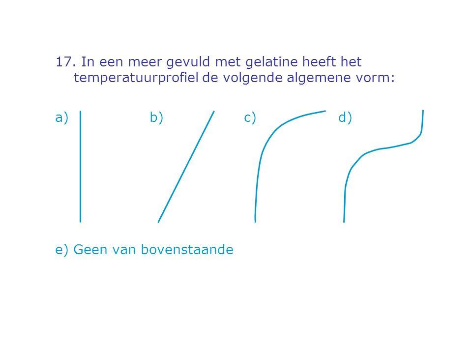 17. In een meer gevuld met gelatine heeft het temperatuurprofiel de volgende algemene vorm:
