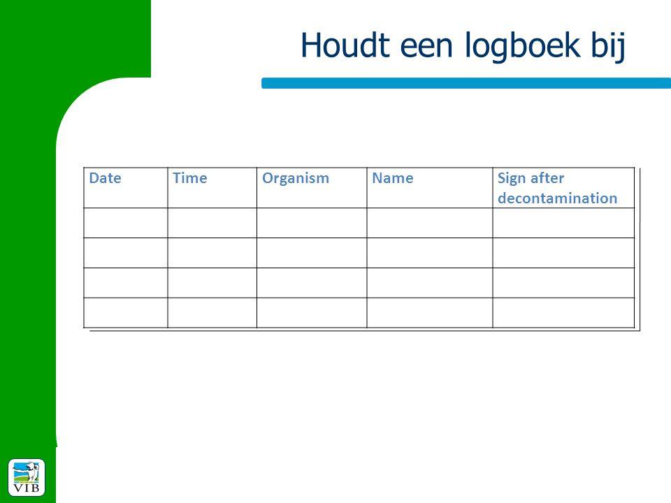 Houdt een logboek bij Date Time Organism Name