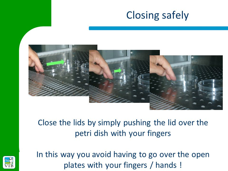 Closing safely Close the lids by simply pushing the lid over the petri dish with your fingers.