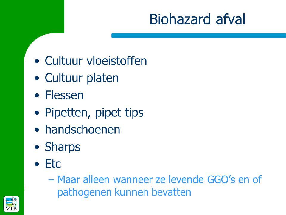 Biohazard afval Cultuur vloeistoffen Cultuur platen Flessen