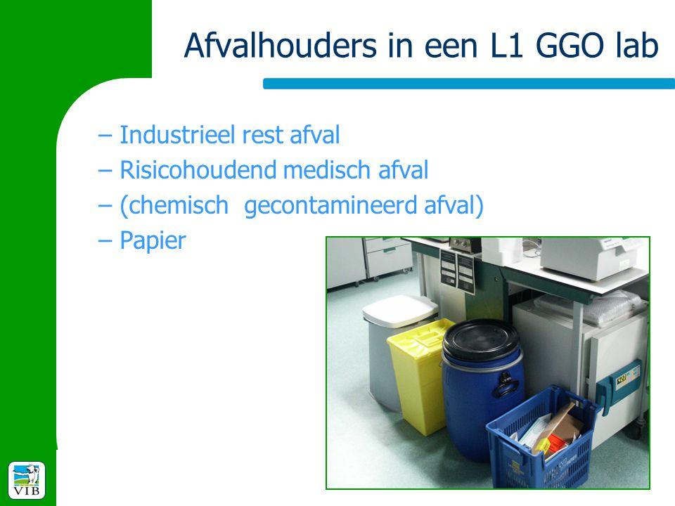 Afvalhouders in een L1 GGO lab