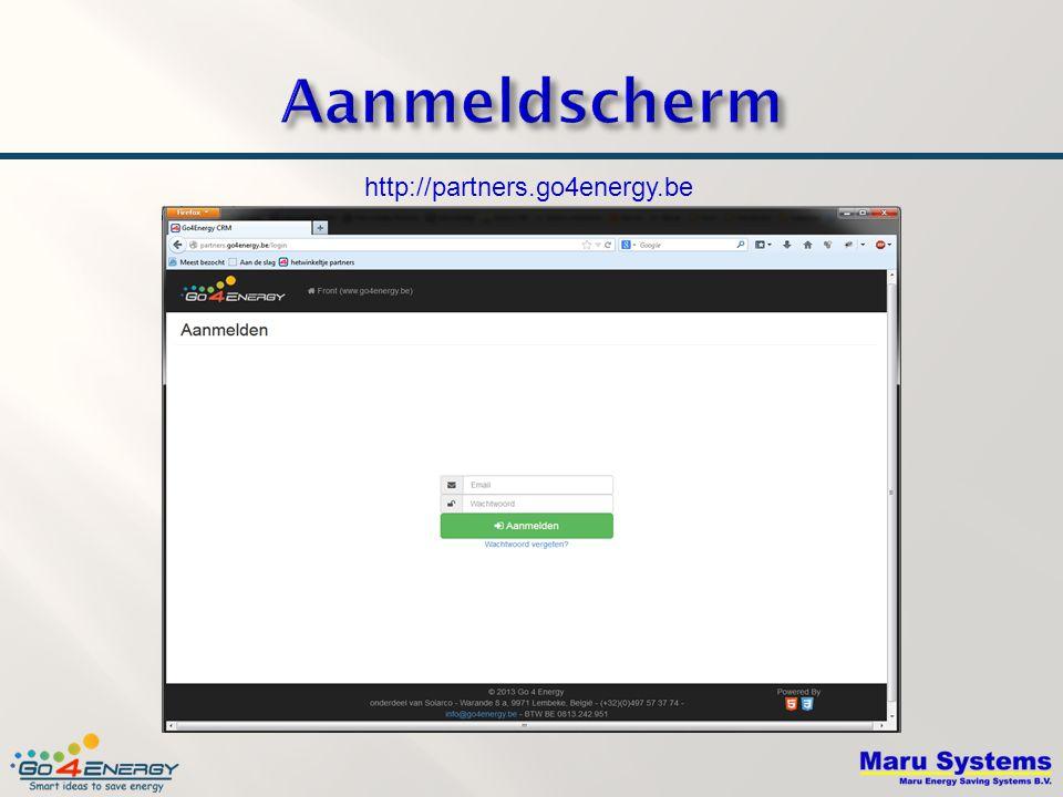 Aanmeldscherm http://partners.go4energy.be