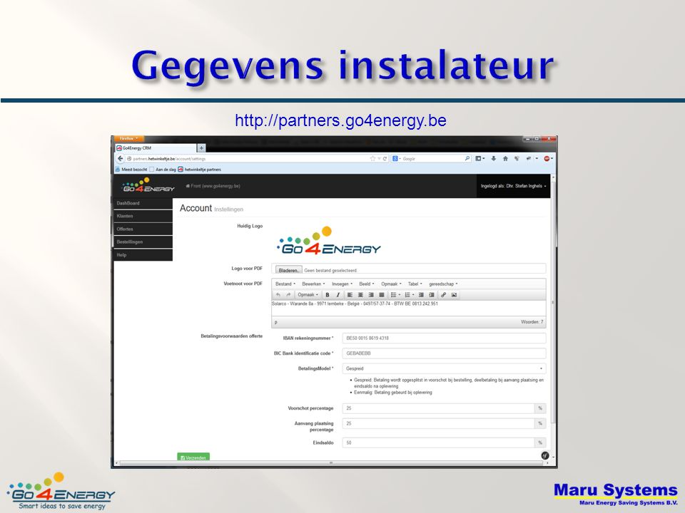 Gegevens instalateur http://partners.go4energy.be