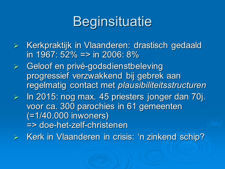Beginsituatie Kerkpraktijk in Vlaanderen: drastisch gedaald in 1967: 52% => in 2006: 8%