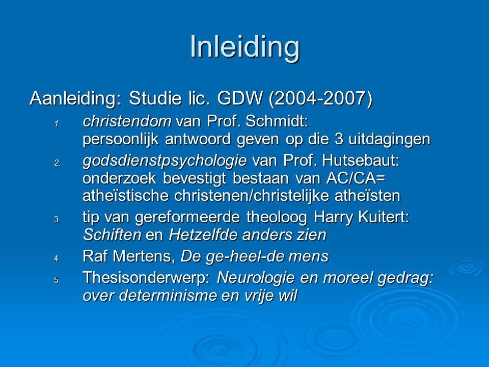 Inleiding Aanleiding: Studie lic. GDW (2004-2007)