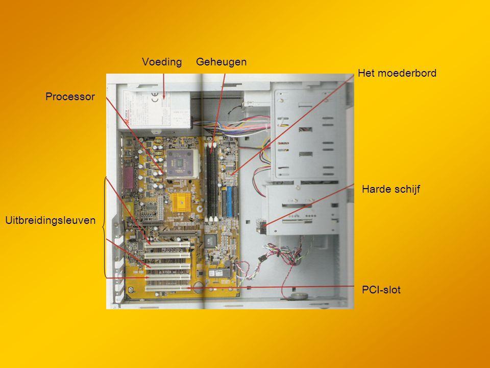 Voeding Geheugen Het moederbord Processor Harde schijf Uitbreidingsleuven PCI-slot