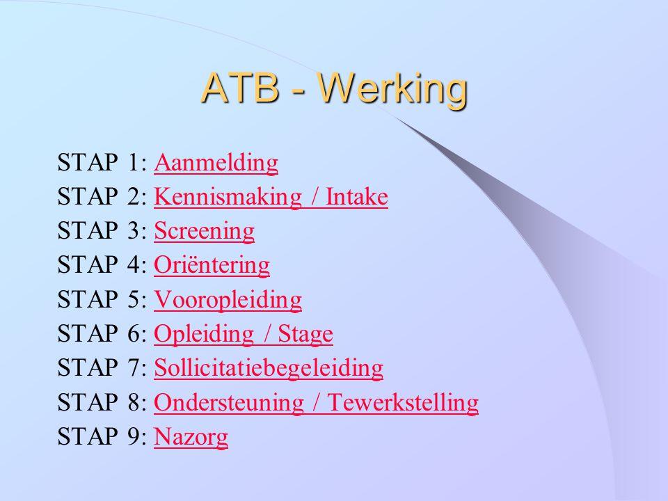 ATB - Werking STAP 1: Aanmelding STAP 2: Kennismaking / Intake