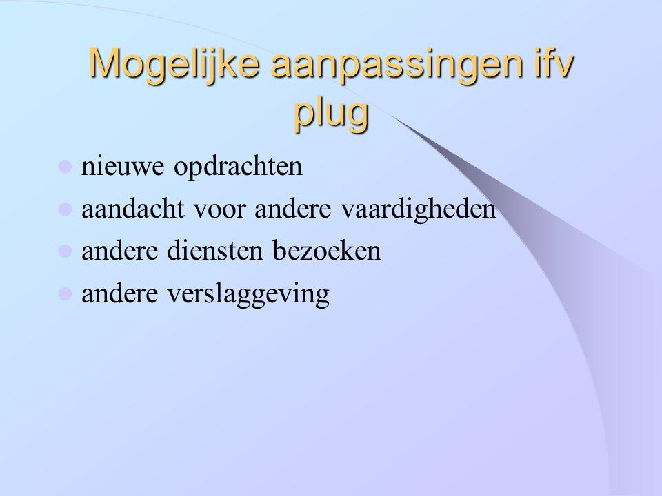 Mogelijke aanpassingen ifv plug