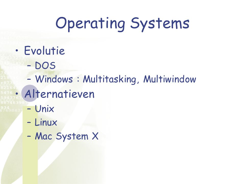 Operating Systems Evolutie Alternatieven DOS