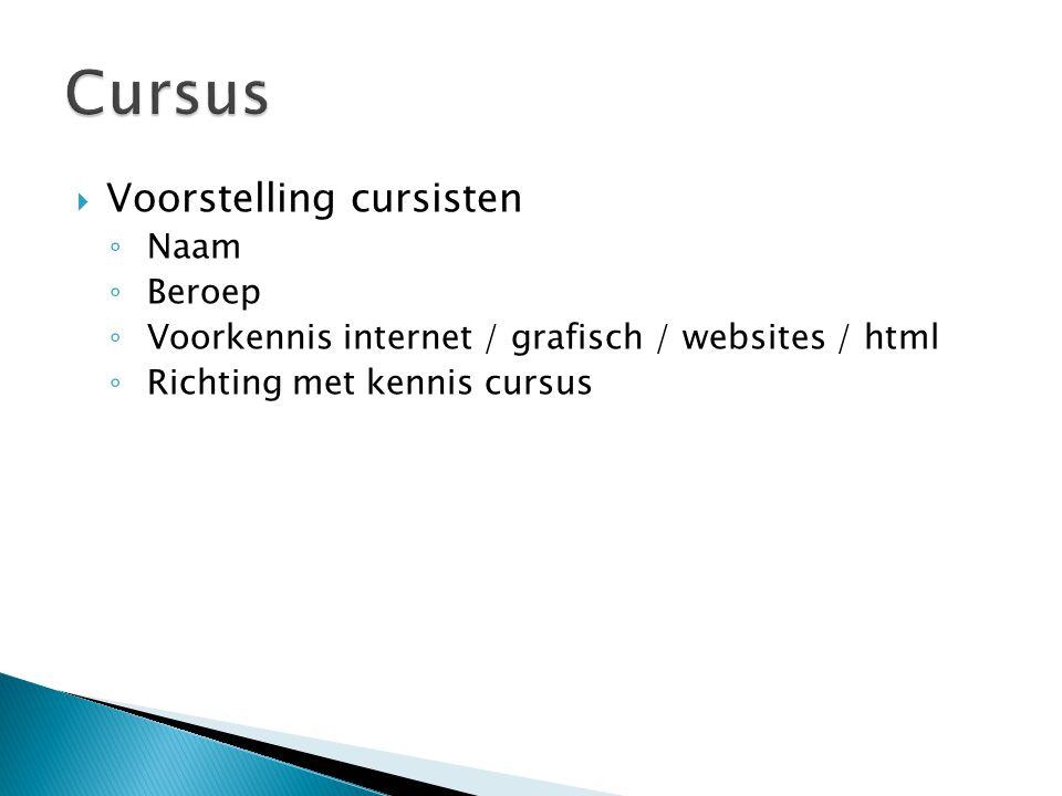 Cursus Voorstelling cursisten Naam Beroep