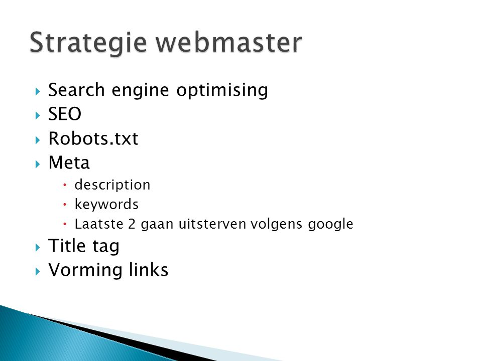 Strategie webmaster Search engine optimising SEO Robots.txt Meta