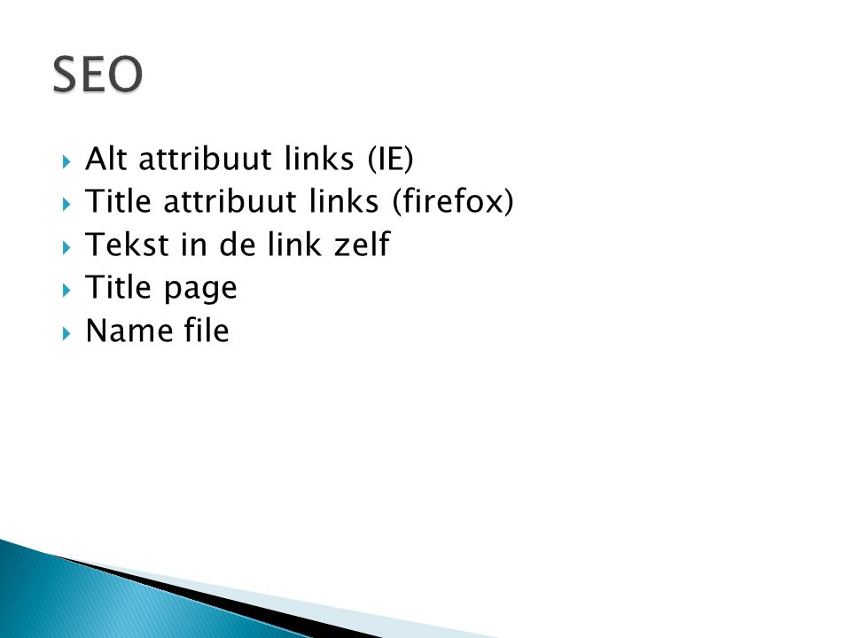 SEO Alt attribuut links (IE) Title attribuut links (firefox)