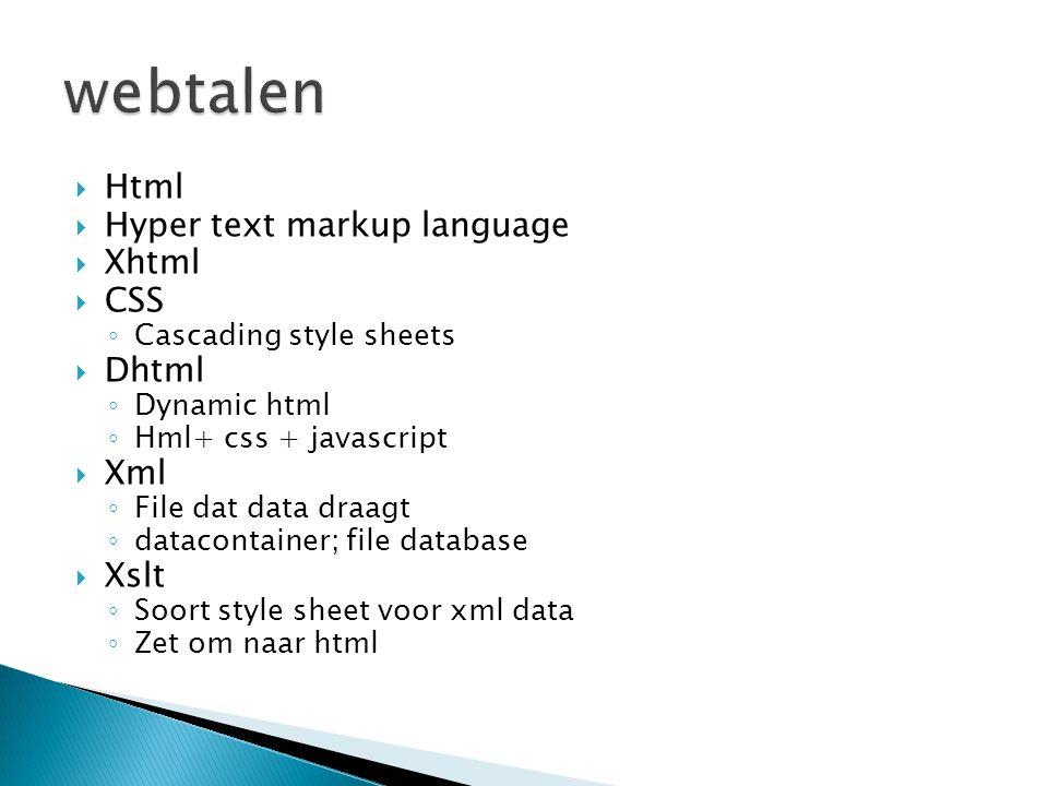webtalen Html Hyper text markup language Xhtml CSS Dhtml Xml Xslt
