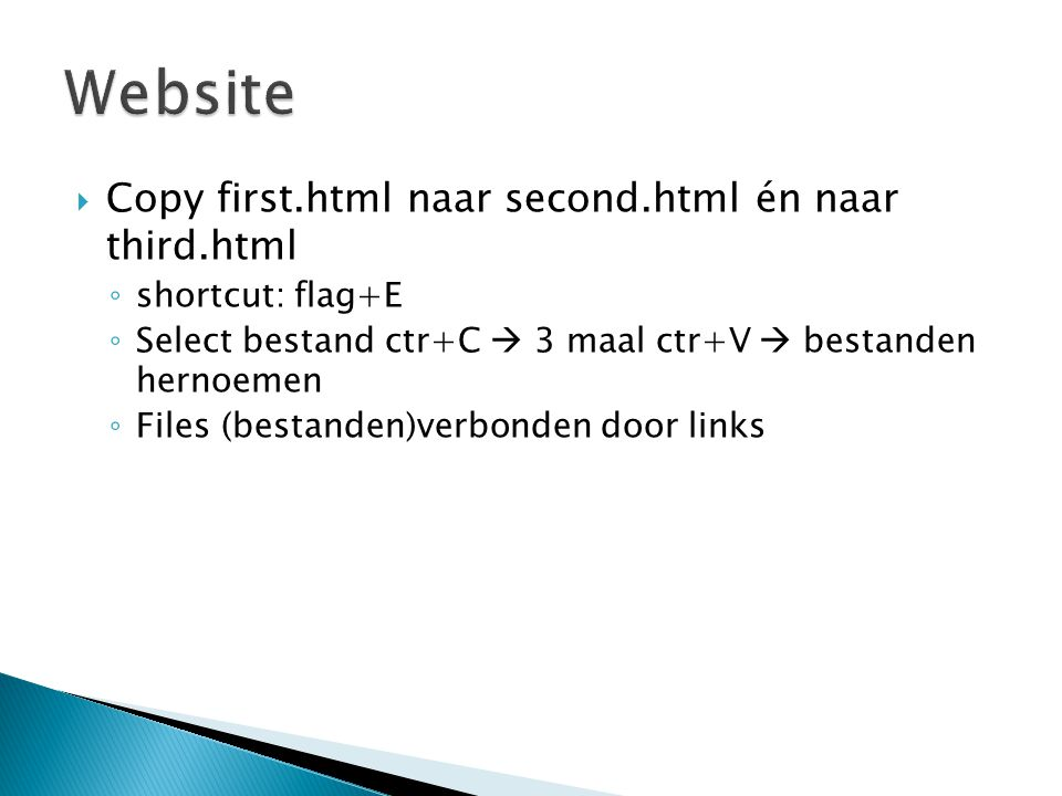 Website Copy first.html naar second.html én naar third.html