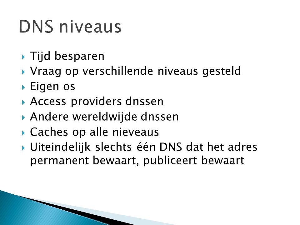 DNS niveaus Tijd besparen Vraag op verschillende niveaus gesteld