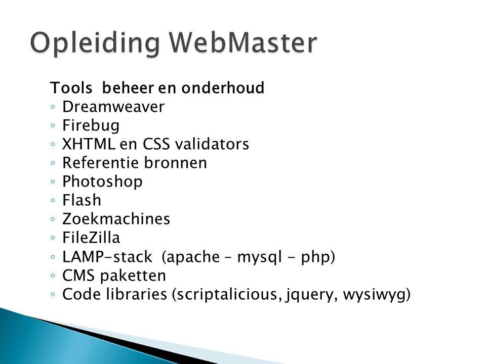 Opleiding WebMaster Tools beheer en onderhoud Dreamweaver Firebug