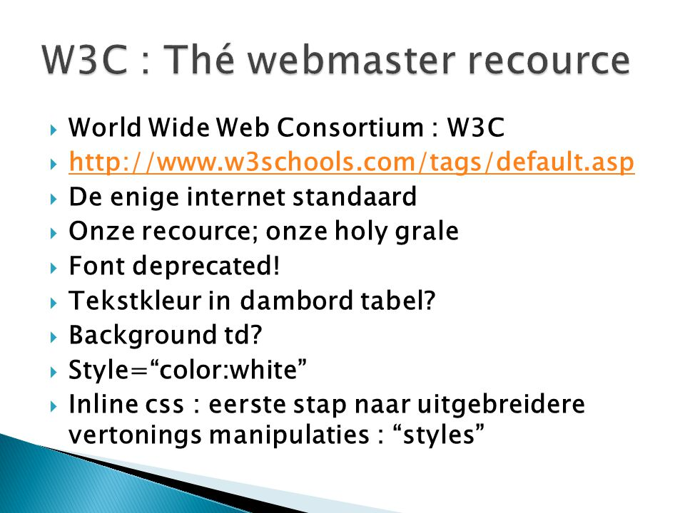 W3C : Thé webmaster recource