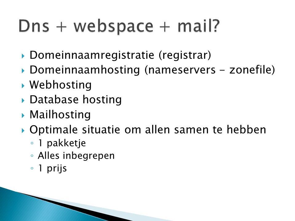 Dns + webspace + mail Domeinnaamregistratie (registrar)