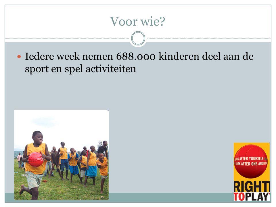 Voor wie Iedere week nemen 688.000 kinderen deel aan de sport en spel activiteiten