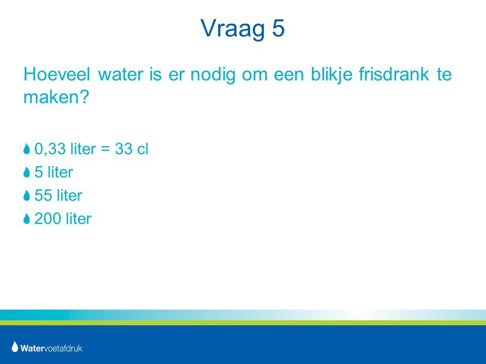 Vraag 5 Hoeveel water is er nodig om een blikje frisdrank te maken