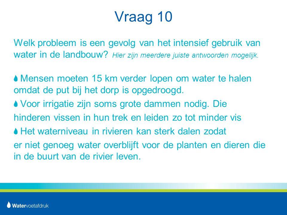 Vraag 10 Welk probleem is een gevolg van het intensief gebruik van water in de landbouw Hier zijn meerdere juiste antwoorden mogelijk.