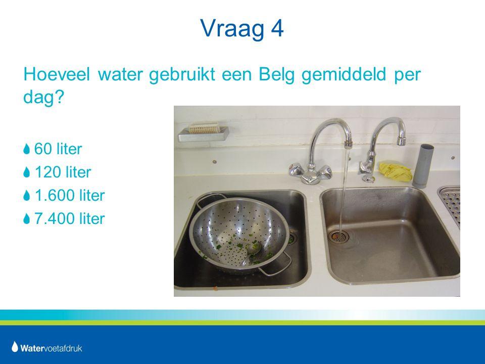 Vraag 4 Hoeveel water gebruikt een Belg gemiddeld per dag 60 liter