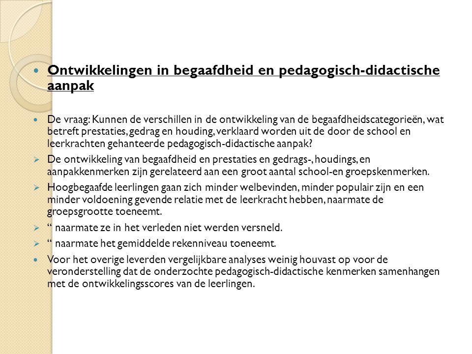 Ontwikkelingen in begaafdheid en pedagogisch-didactische aanpak