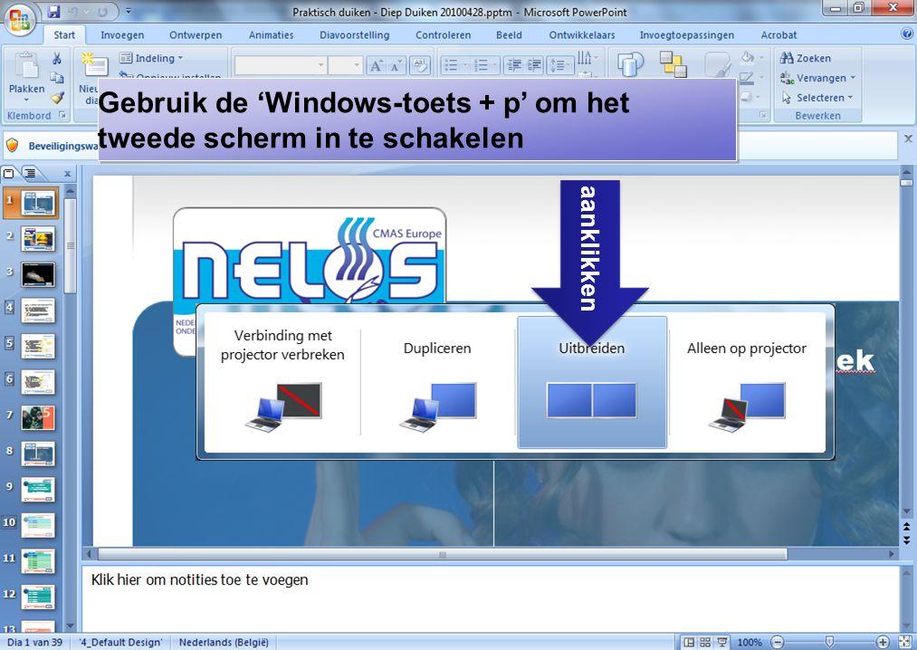 Gebruik de 'Windows-toets + p' om het tweede scherm in te schakelen