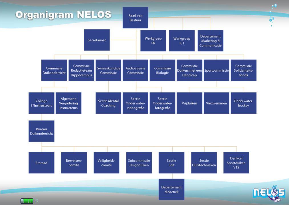 Organigram NELOS Sectie EDIT (Sectie Elektronische Didactiek, Internet en Theorie) Sectie Duiktechnieken = SDT.