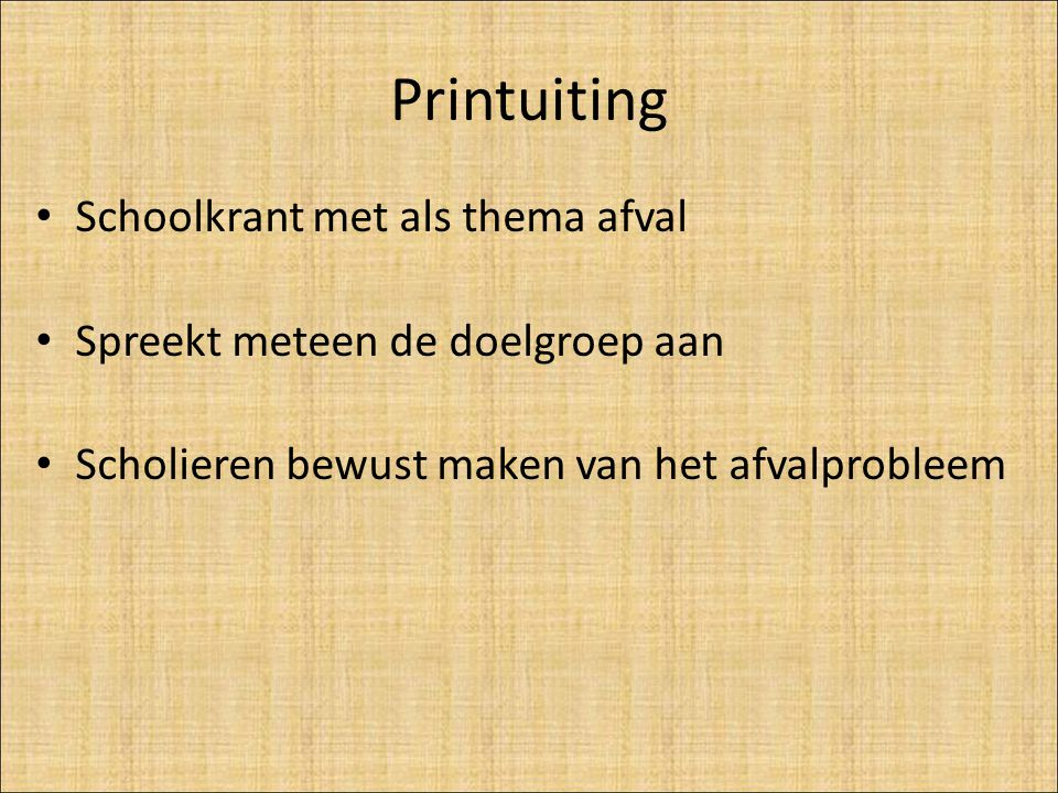 Printuiting Schoolkrant met als thema afval
