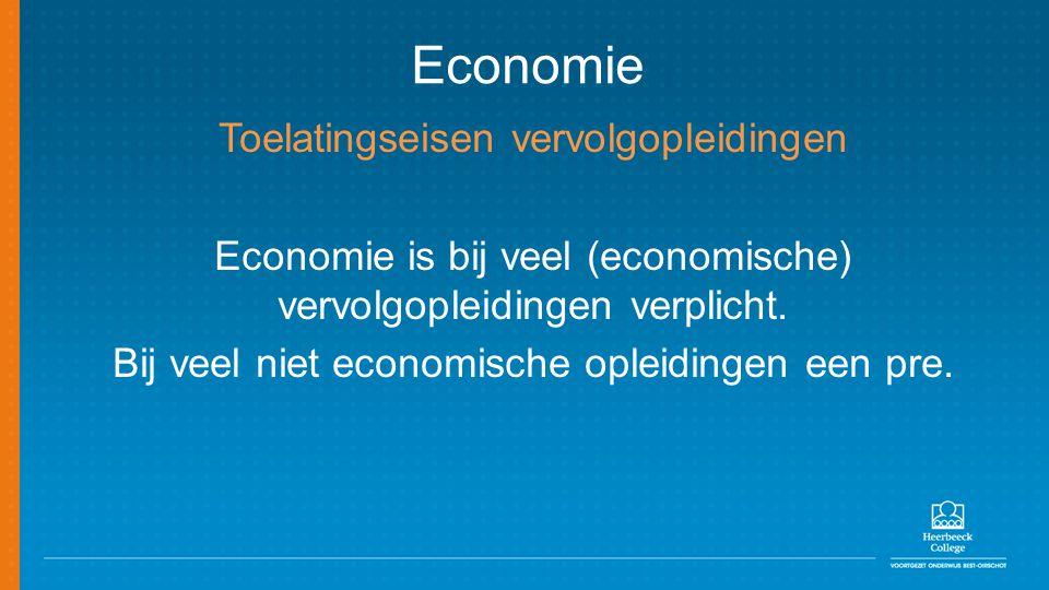 Economie Toelatingseisen vervolgopleidingen