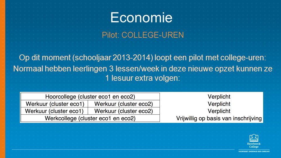 Op dit moment (schooljaar 2013-2014) loopt een pilot met college-uren: