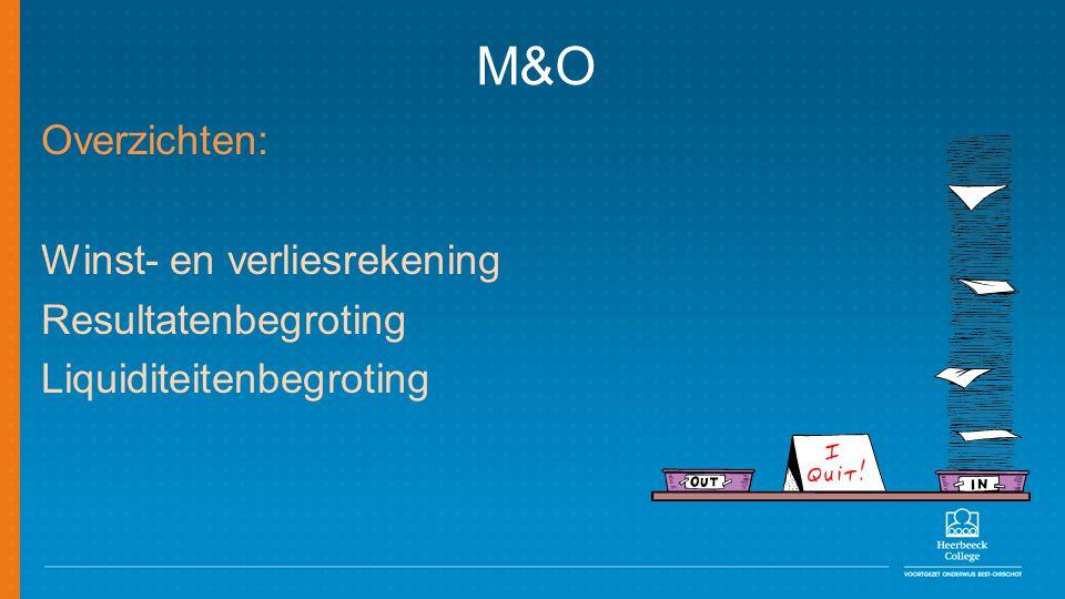 M&O Overzichten: Winst- en verliesrekening Resultatenbegroting