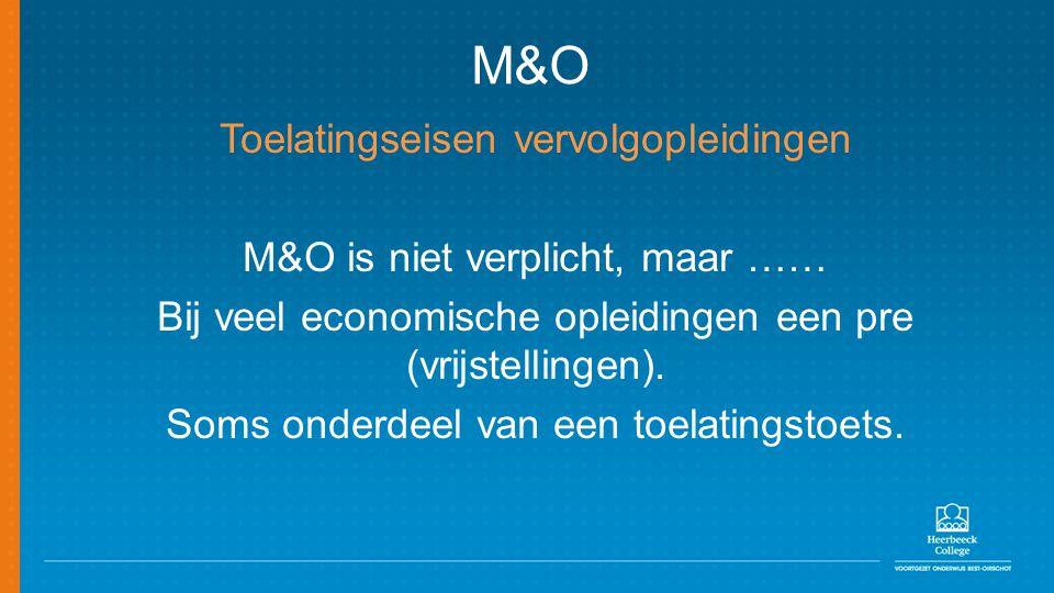 M&O Toelatingseisen vervolgopleidingen M&O is niet verplicht, maar ……