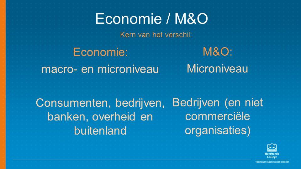 Economie / M&O Economie: M&O: macro- en microniveau Microniveau
