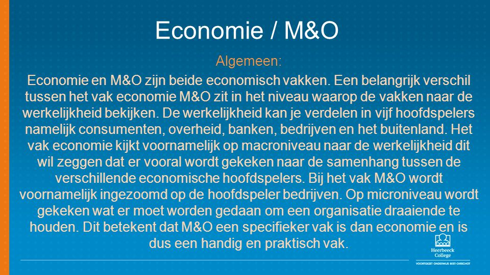 Economie / M&O Algemeen: