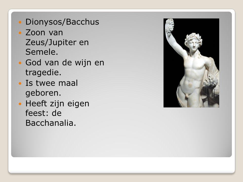 Dionysos/Bacchus Zoon van Zeus/Jupiter en Semele. God van de wijn en tragedie. Is twee maal geboren.
