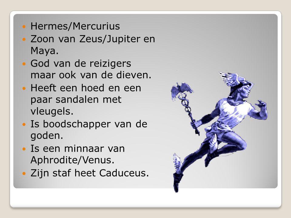 Hermes/Mercurius Zoon van Zeus/Jupiter en Maya. God van de reizigers maar ook van de dieven. Heeft een hoed en een paar sandalen met vleugels.