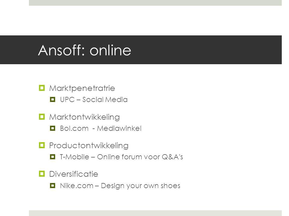 Ansoff: online Marktpenetratrie Marktontwikkeling Productontwikkeling