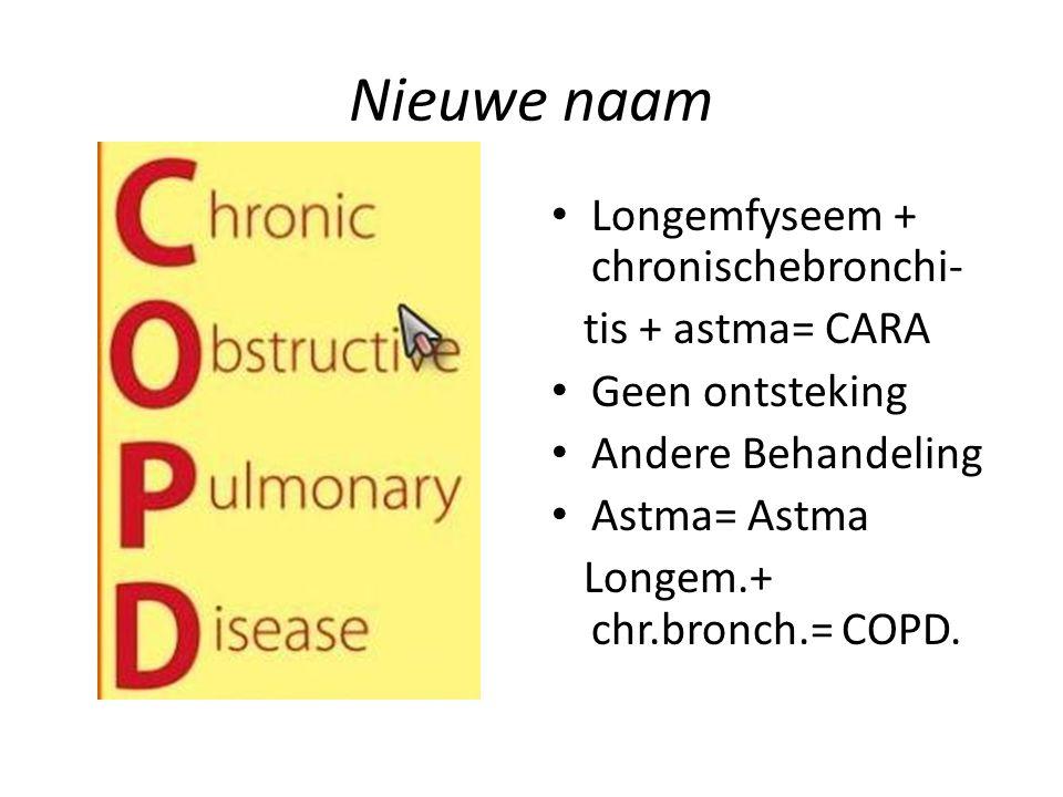 Nieuwe naam Longemfyseem + chronischebronchi- tis + astma= CARA