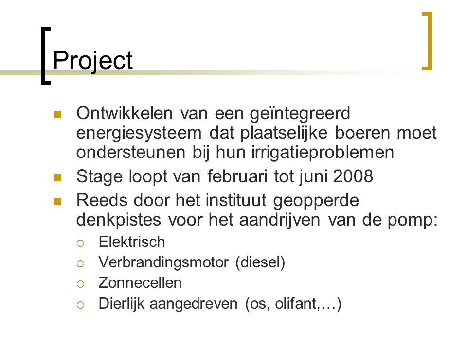 Project Ontwikkelen van een geïntegreerd energiesysteem dat plaatselijke boeren moet ondersteunen bij hun irrigatieproblemen.