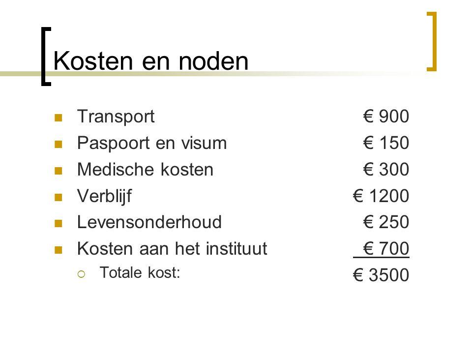 Kosten en noden Transport Paspoort en visum Medische kosten Verblijf