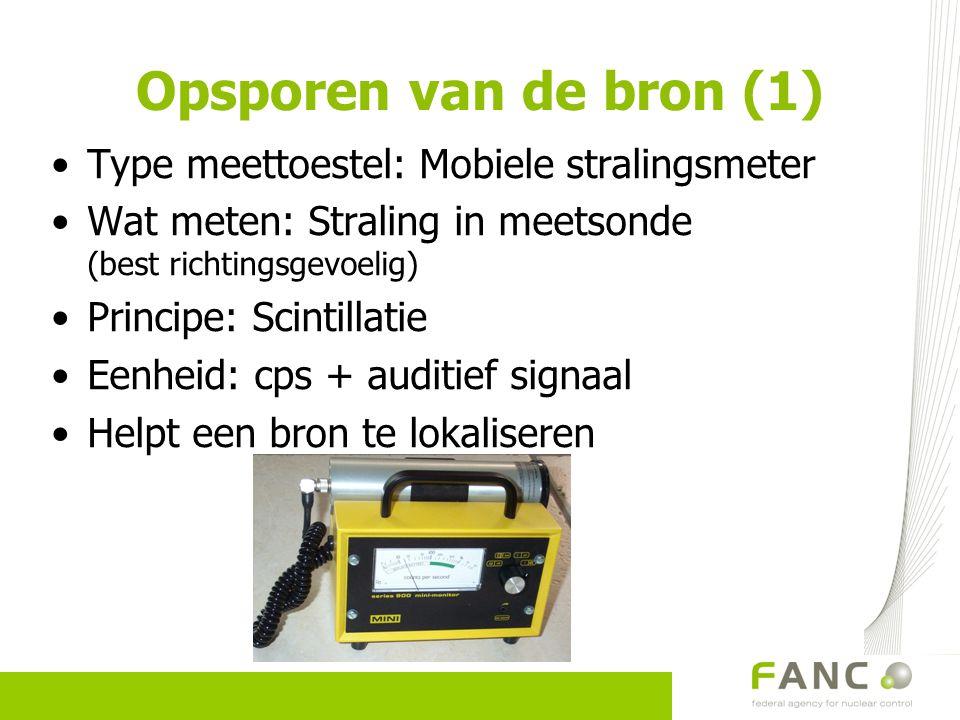 Opsporen van de bron (1) Type meettoestel: Mobiele stralingsmeter