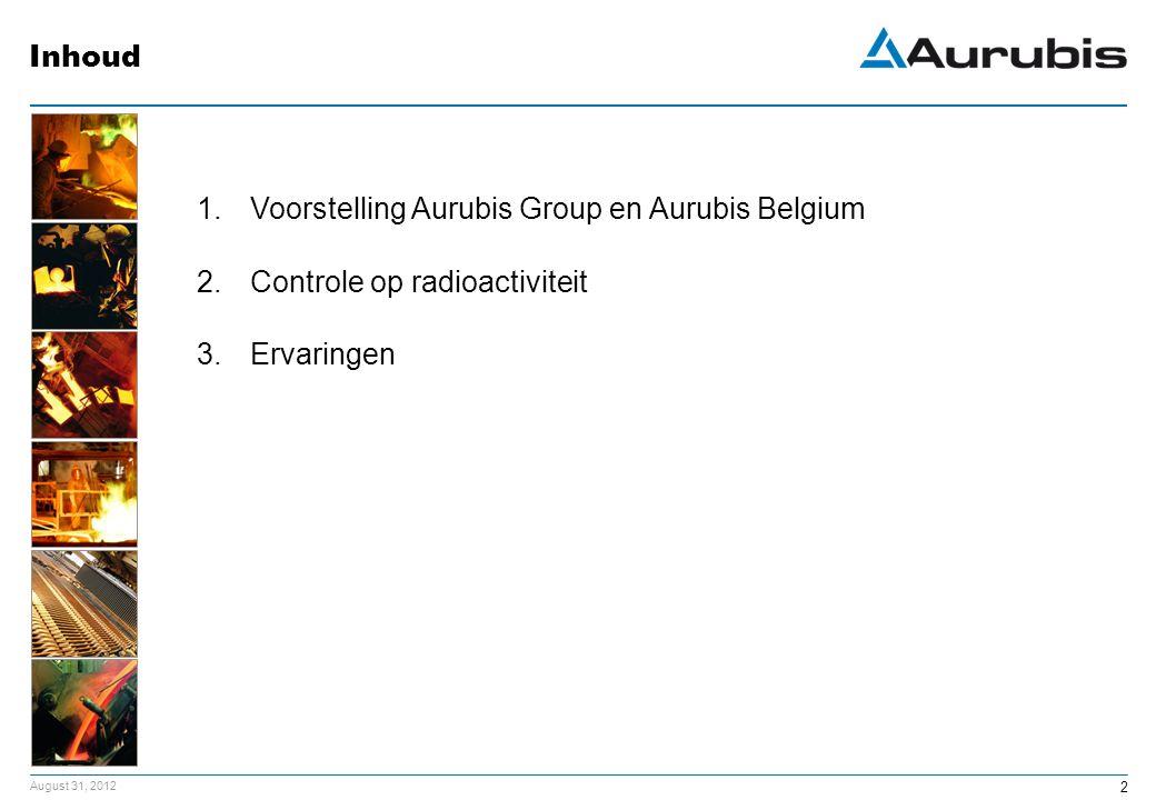 Inhoud Voorstelling Aurubis Group en Aurubis Belgium Controle op radioactiviteit Ervaringen
