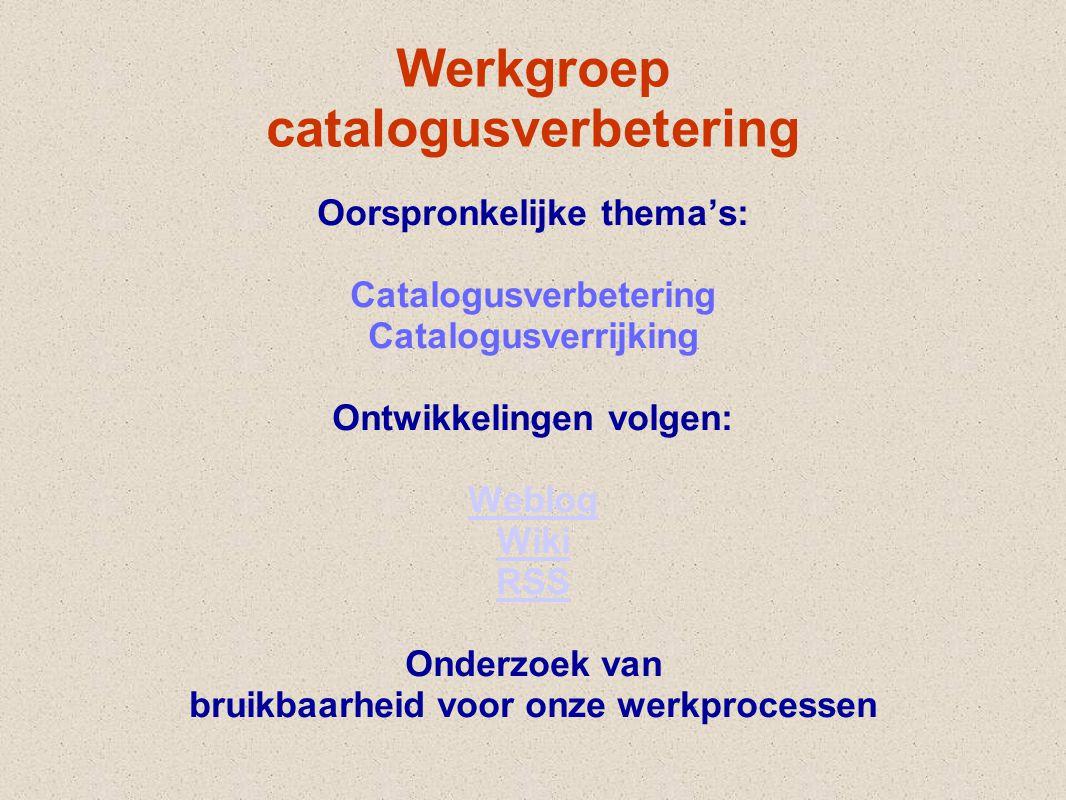 Werkgroep catalogusverbetering