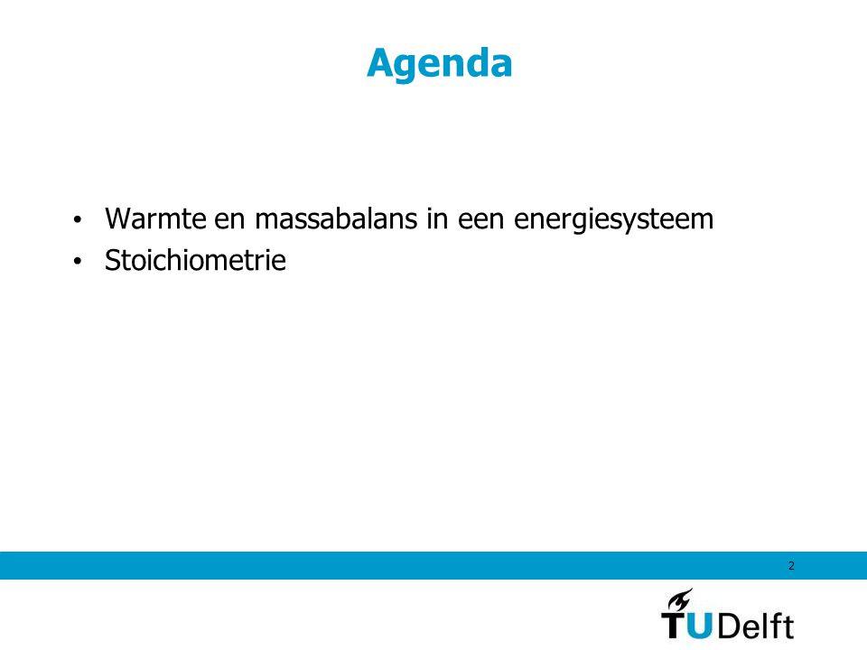 Agenda Warmte en massabalans in een energiesysteem Stoichiometrie