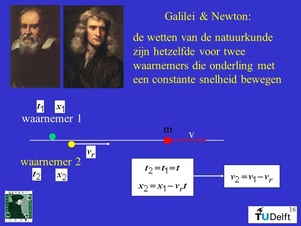 Galilei & Newton: de wetten van de natuurkunde. zijn hetzelfde voor twee. waarnemers die onderling met.