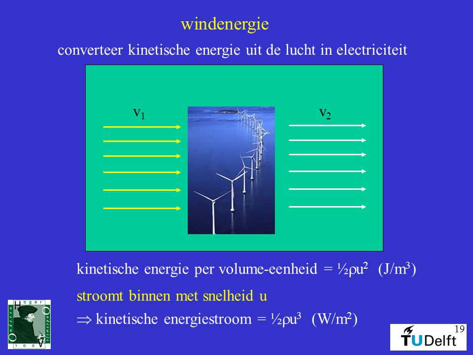 windenergie converteer kinetische energie uit de lucht in electriciteit. v1. v2. kinetische energie per volume-eenheid = ½ru2 (J/m3)