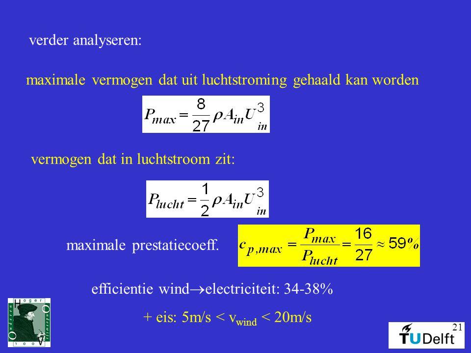 verder analyseren: maximale vermogen dat uit luchtstroming gehaald kan worden. vermogen dat in luchtstroom zit: